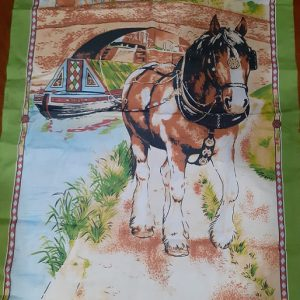 horsedrawn narrowboat tea towel