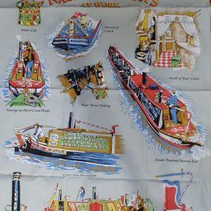 narrowboats at work tea towel