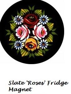 'Roses' Slate fridge magnet